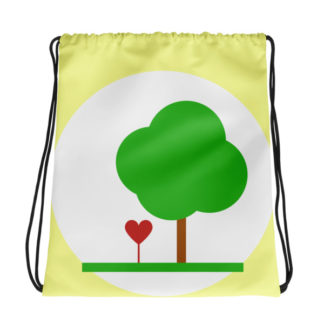 Heart & Tree Drawstring Bag
