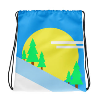 Trees in the Mountain Drawstring Bag