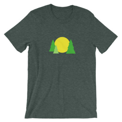 trees forest sun unisex t-shirt green heather