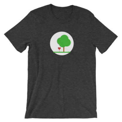heart and tree unisex t-shirt dark gray heather