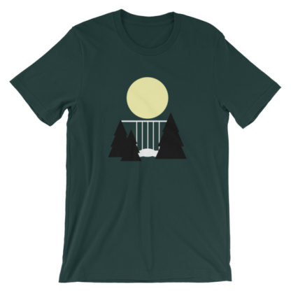 waterfall in the night unisex t-shirt forest green