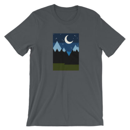 starry night in the mountains unisex t-shirt gray