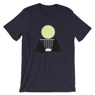 waterfall in the night unisex t-shirt dark blue