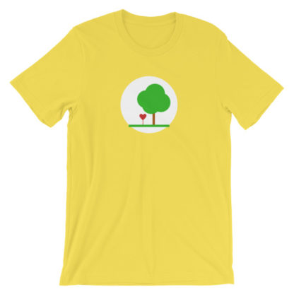 heart and tree unisex t-shirt yellow
