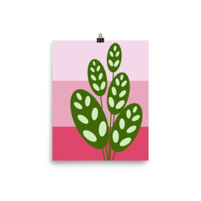 green on pink plant poster
