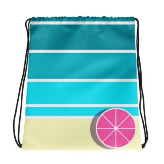 Umbrella on the Beach Drawstring Bag
