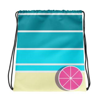 Umbrella on the Beach Drawstring Bag