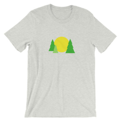 trees forest sun unisex t-shirt light gray