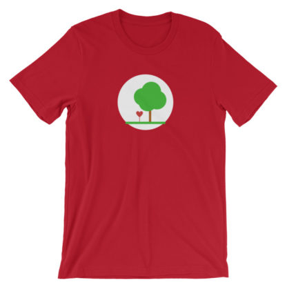 heart and tree unisex t-shirt red