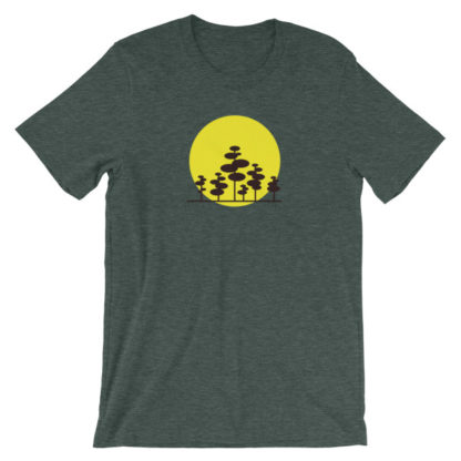 trees in the sun unisex t-shirt green heather