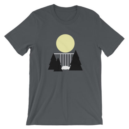 waterfall in the night unisex t-shirt gray