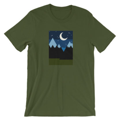 starry night in the mountains unisex t-shirt olive green