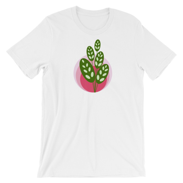 green and pink plant unisex t-shirt white