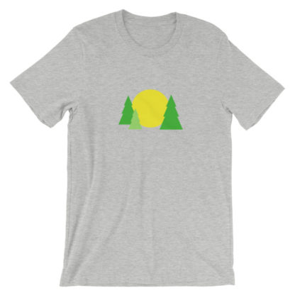 trees forest sun unisex t-shirt light gray heather
