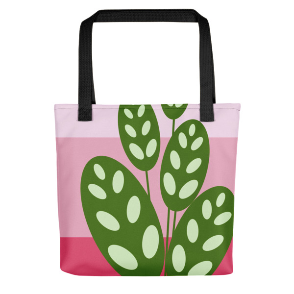 green on pink plant tote bag