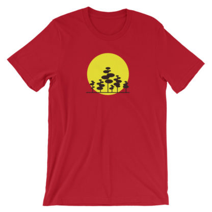 trees in the sun unisex t-shirt red