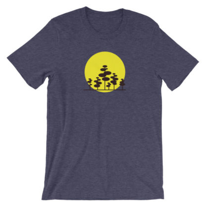 trees in the sun unisex t-shirt blue heather