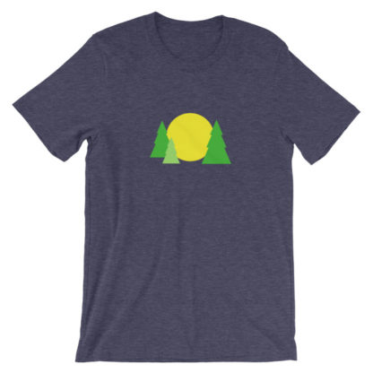 trees forest sun unisex t-shirt blue heather