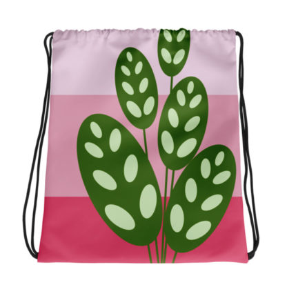 green on pink plant drawstring bag
