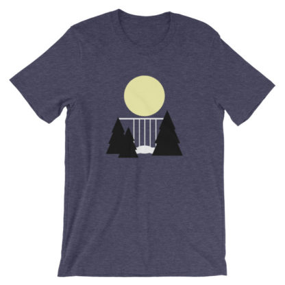 waterfall in the night unisex t-shirt blue heather