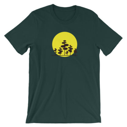 trees in the sun unisex t-shirt forest green