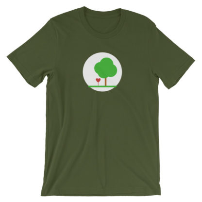 heart and tree unisex t-shirt olive green