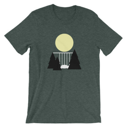 waterfall in the night unisex t-shirt green heather