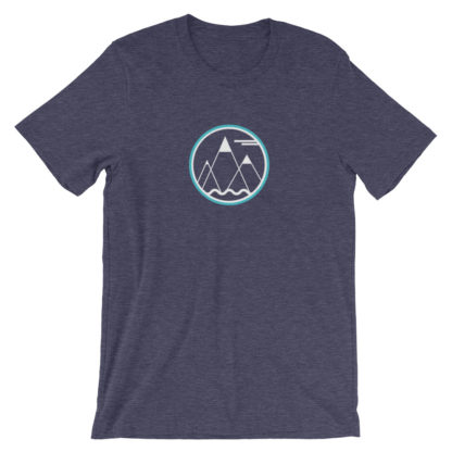 mountains ocean sky unisex t-shirt blue heather
