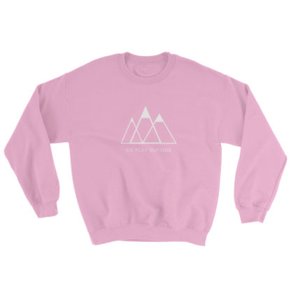 go play outside mountains hiking unisex sweater pink