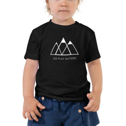 go play outside mountains hiking unisex toddler t-shirt black