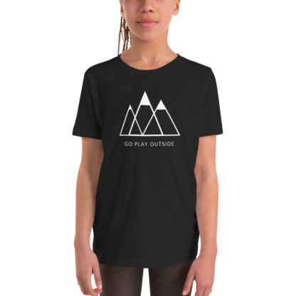 go play outside mountains hiking unisex youth t-shirt black