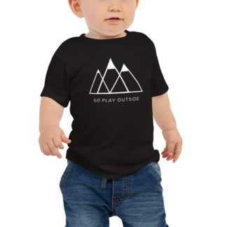 go play outside mountains hiking unisex baby t-shirt black