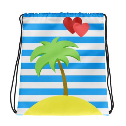 paradise island palm tree heart drawstring bag