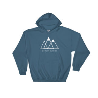 go play outside mountains hiking unisex hoodie blue