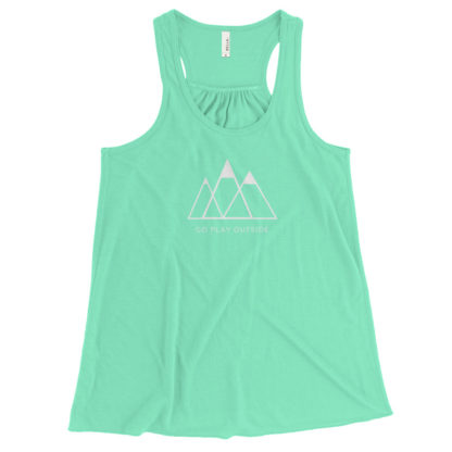 go play outside mountains hiking unisex racerback tank top turquoise