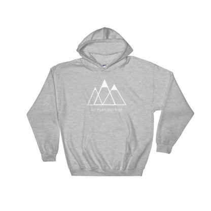 go play outside mountains hiking unisex hoodie light gray