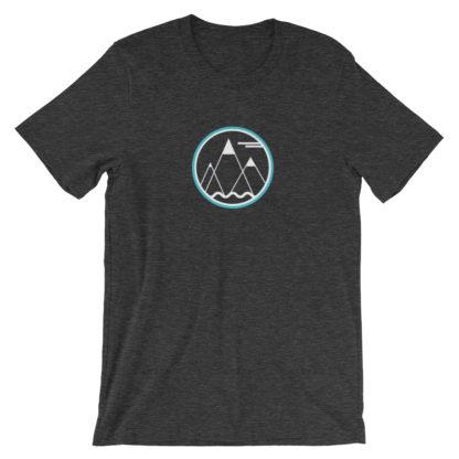mountains ocean sky unisex t-shirt dark gray heather