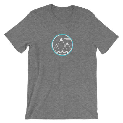 mountains ocean sky unisex t-shirt gray heather