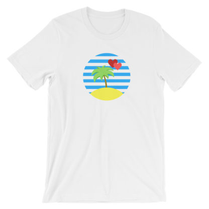 paradise island palm tree heart unisex t-shirt white