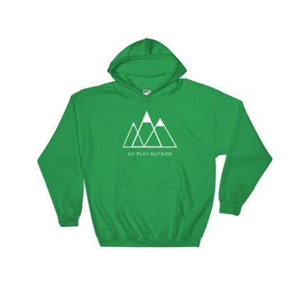 go play outside mountains hiking unisex hoodie green