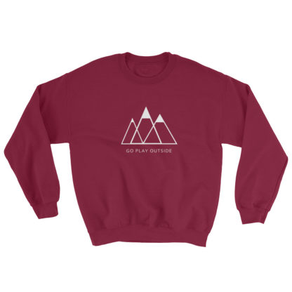 go play outside mountains hiking unisex sweater dark red