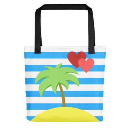 paradise island palm tree heart tote bag