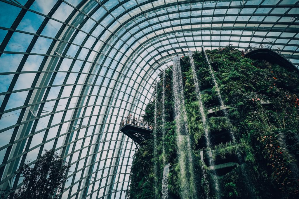 Multistory indoor garden with waterfall