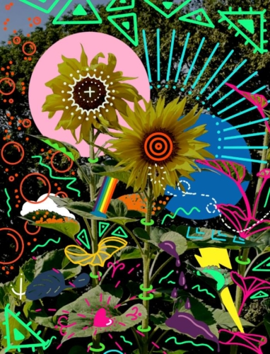 Sunflowers Pop Art Digital Painting Artwork