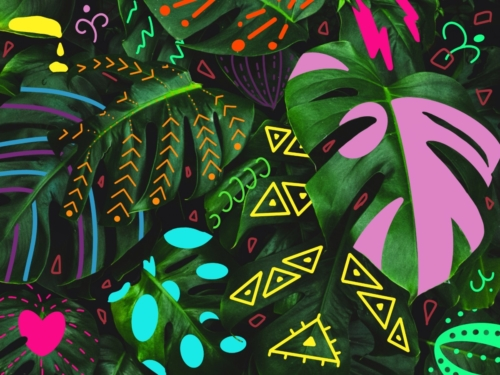 Party Monstera Nature Art Painting