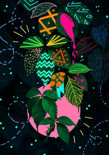 Plants Nighttime Pop Art Painting