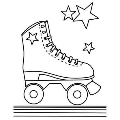 rollerskate free colouring page