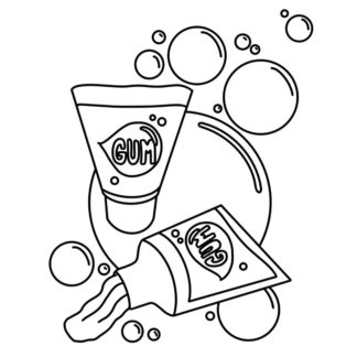 Tube Bubble Gum colouring page