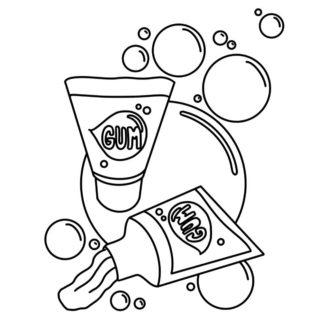 Tube Bubble Gum colouring page
