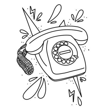 retro telephone colouring page